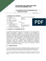 Silabus Ingeniería de Cimentaciones UNCP 2017 I