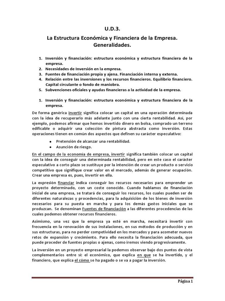 U D 3 Estructura Economica Y Financiera Capital De Trabajo