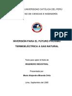 Miranda María Inversión Para El Futuro Próximo Termoeléctrica a Gas Natural