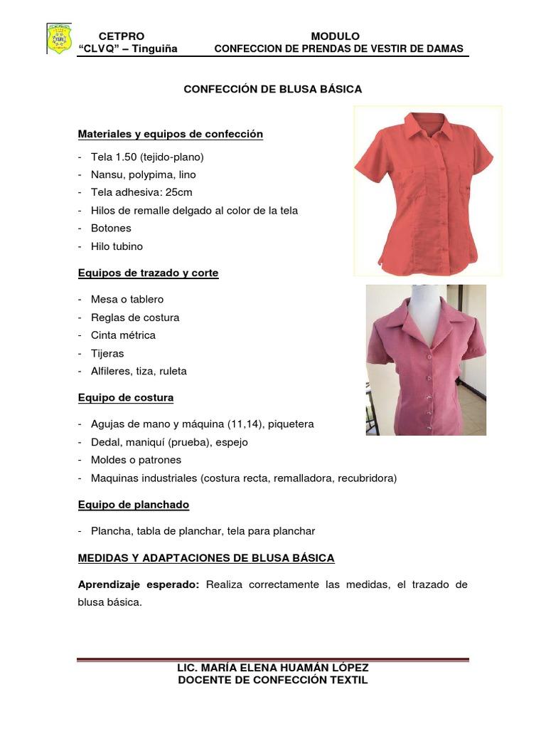 CONFECCIÓN de BLUSAS BÁSICA- Cetpro Carlos Luna Victoria