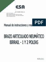 Brazo Articulado Neumatico Birrail- 1 y 2 Poleas