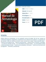 Williams Manual de Hematologia 8ed