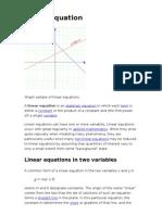 Equatons of Straight Line