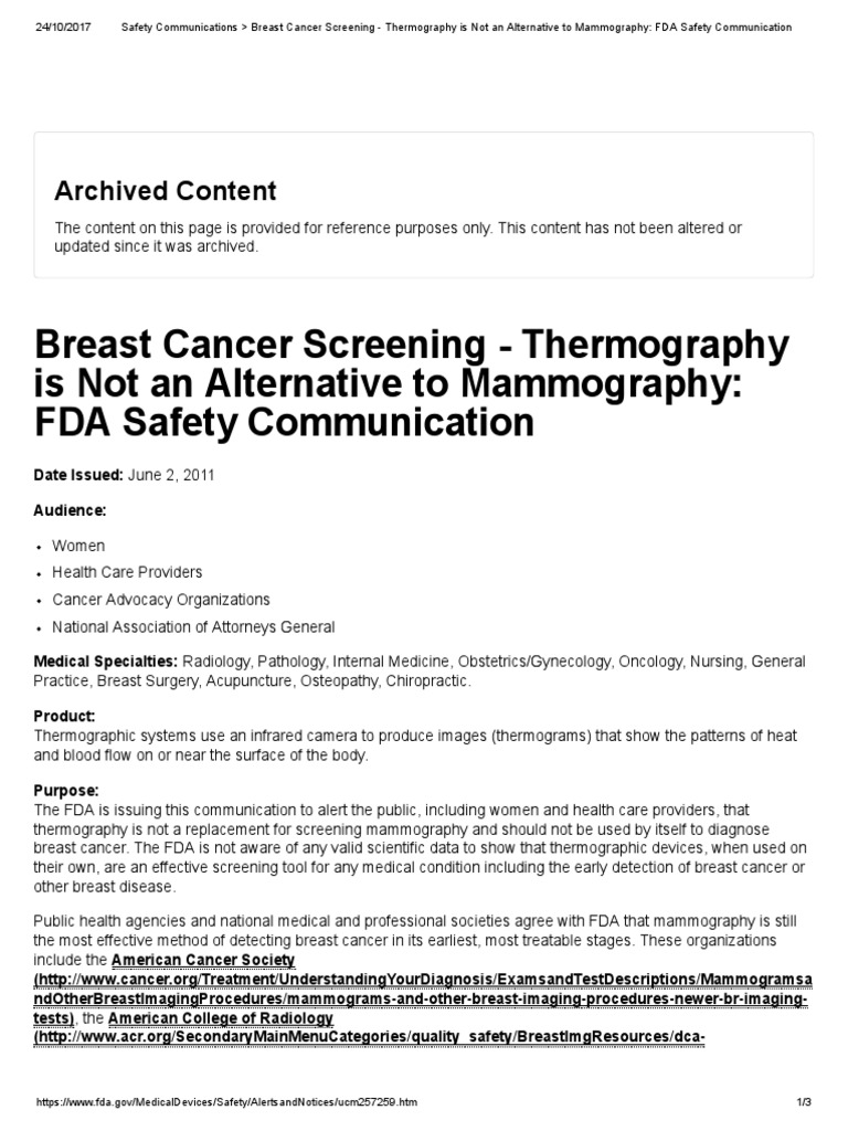 Safety Communications _ Breast Cancer Screening - Thermography is Not an  Alternative to Mammography_ FDA Safety Communication | Mammography |  Medicine