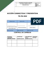 Te-pg-004 Accion Correctiva y Preventiva