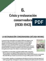 Crisis y Restauración Conservadora (1930-1943)