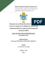TESIS Lenin Gonzales Carrasco - Propuesta de un Modelo Estructural y Diseño en Concreto Armado de un Módulo de Aulas de una  Institución Educativa Aplicado al Prototipo 780 Actual de OINFE