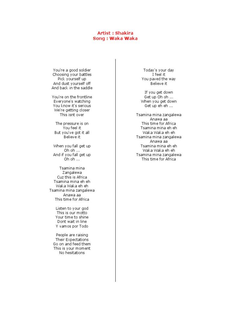 Lyrics Waka Waka