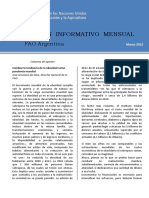Boletín Mensual FAO Argentina Marzo 2015 With Job Number