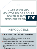 Operation and Monitoring of a Solar Power Plant