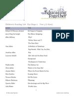 Children's Reading Book List KS2 Y3 (7 8yrs)