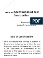 Arbie's Powerpoint on Table of Specifications and Test Constructions