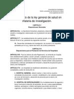 Reglamento de La Ley General de Salud en Materia de Investigación.