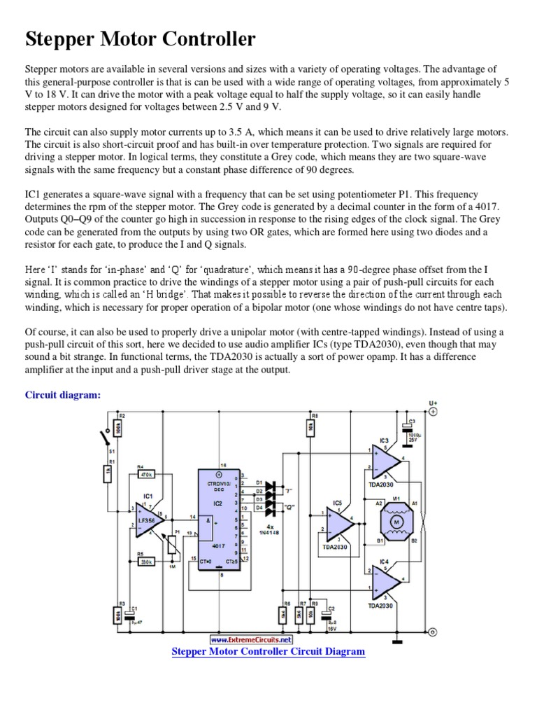 Advantages Of Stepper Motor Pdf Control Circuit Diagram Controller Operational Amplifier Electrical Equipment