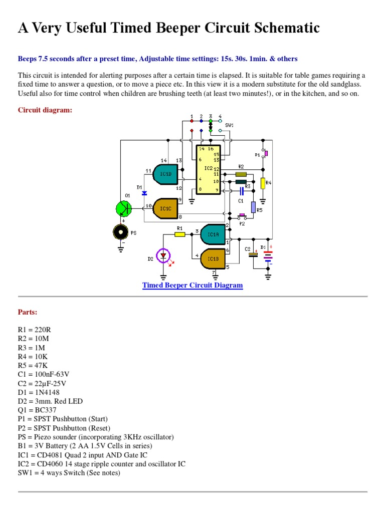a very useful timed beeper circuit schematic electrical circuits rh scribd com