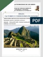 Ensayo de Factores y Condiciones de Estudio