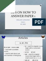 Tips N Trick Menjawab Kertas 1 Bahasa Inggeris UPSR - PPTX