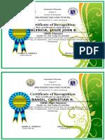 Certificate Honors