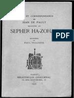 Études Et Correspondance de Jean de Pauly Zohar