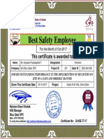 ponkoz biewas purno best safety employee award certificate for month