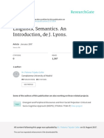 Linguistic Semantics an Introduction de J Lyons