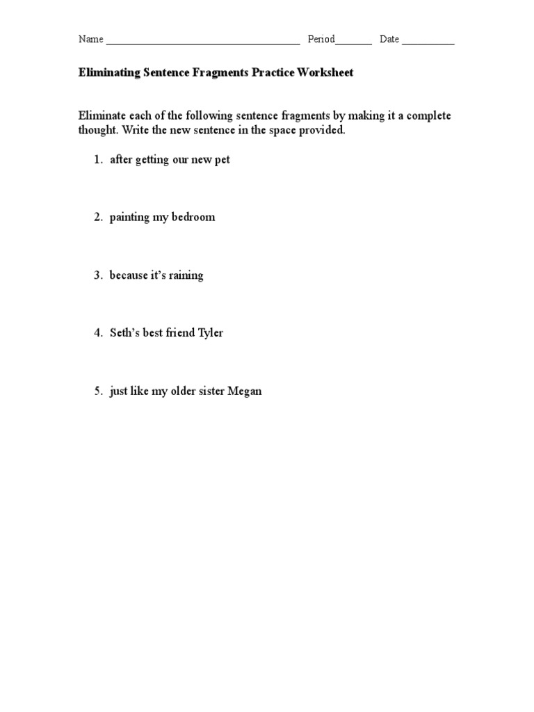 worksheet Fragments Worksheet eliminating sentence fragments differentiated worksheets