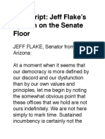 Transcript- Jeff Flake's Speech on the Senate Floor