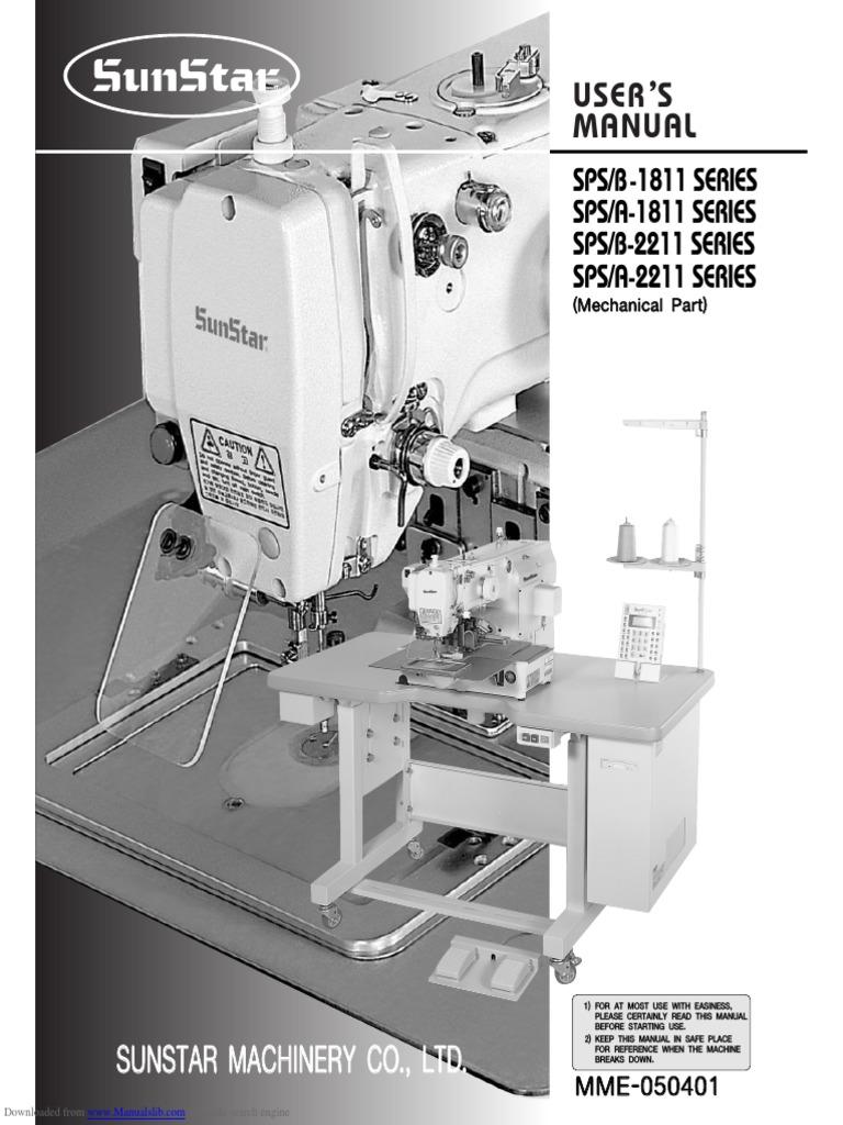 Instruction Manual Sunstar SPS-B1811_series.Pdf | Sewing Machine | Switch