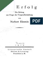 Norbert Einstein - Der Erfolg