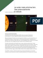 Estrela de Tipo Solar Mais Próxima Tem Quatro Planetas Potencialmente Rochosos