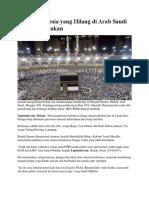 2 Haji Indonesia Yang Hilang Di Arab Saudi Belum Ditemukan