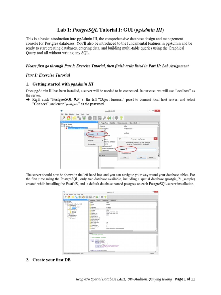 Lab 1: postgresql tutorial i: gui (pgadmin iii).