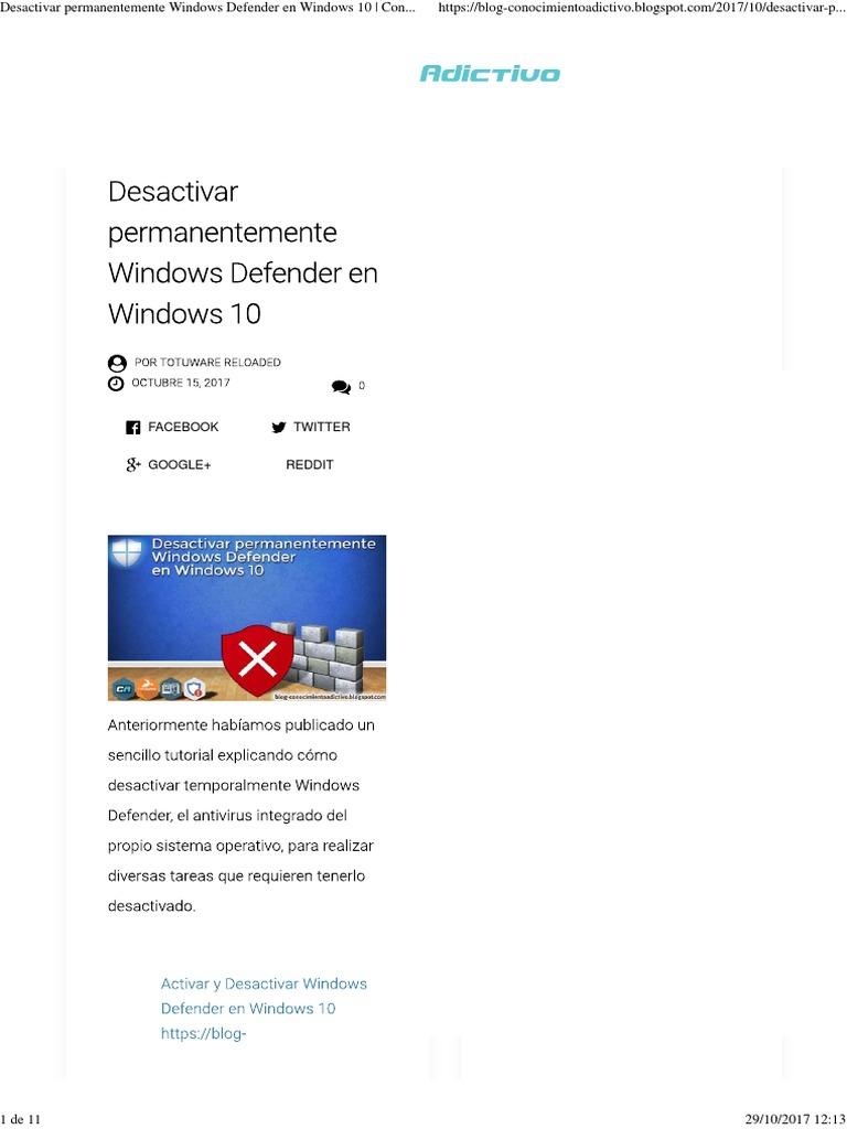 desactivar windows defender windows 7