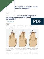 Sabías Que La Longitud de Los Dedos Puede Revelar Tu Tipo de Personalidad