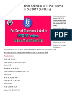 IBPS PO 2017 Full Set of Prelims Questions - 7th Oct 2017