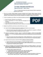 Modelo de Solicitud de Tercera Matrícula e Instructivo de Terceras Matrículas – Universidad de Guayaquil