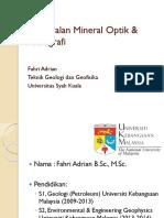 1. Pengenalan Mineral Optik & Petrografi