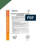 1. Politica de Seguridad y Salud Ocupacional 2013