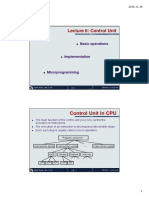 Lecture 6 - Control Unit - Implementation - Basic Operations - Microprogramming