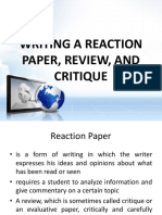 Writing a Reaction Paper