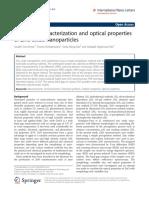 Sintesis, Caracterización y Propiedades Opticas de Las Nanoparticulas de ZnO