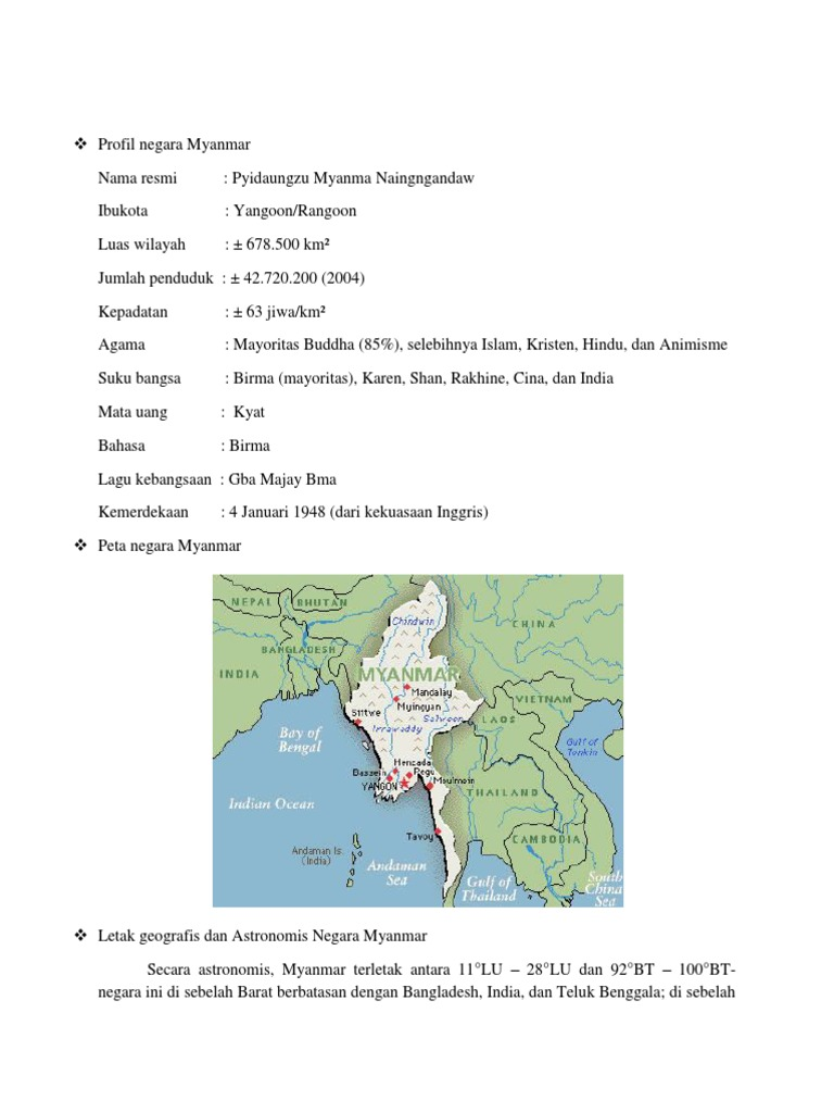 Gambar Negara Myanmar Profil Negara Myanmar Docx