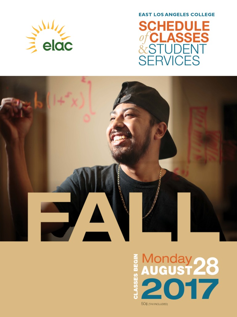 Elac Academic Calendar.Elac Fall 2017 Classes Academic Term Final Examination