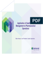 Application of Quality Risk Management to Pharmaceutical Operations