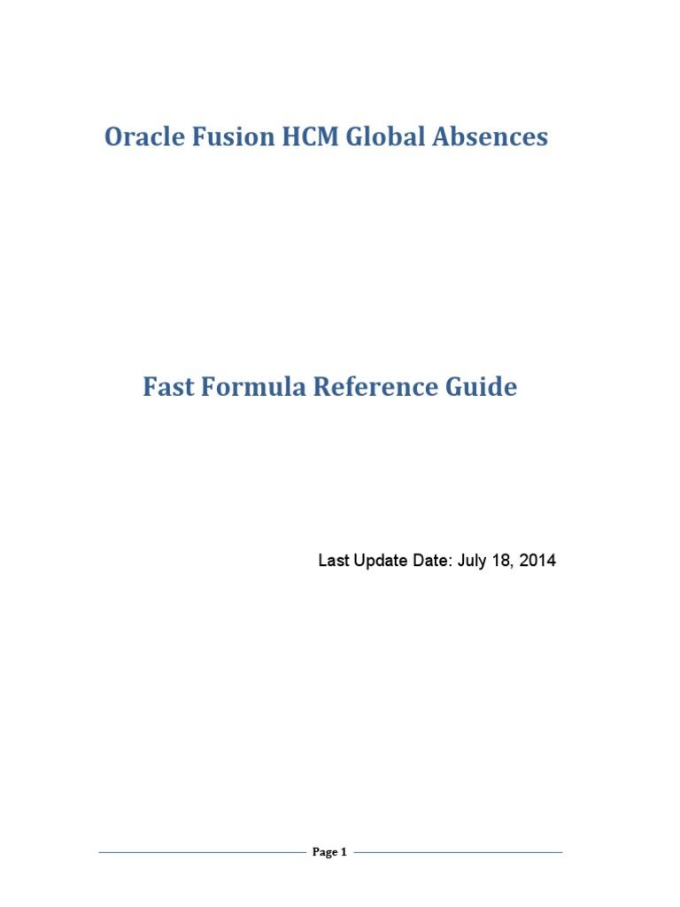 Hcm Global Absence Ff Guide 2209568 | Data Type | Databases