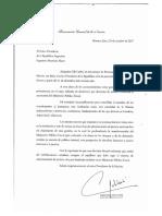 Carta de renuncia de la procuradora Alejandra Gils Carbó