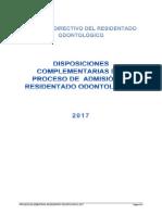 Disposiciones Complementarias Proceso Admision Residentado Odontologico 2017