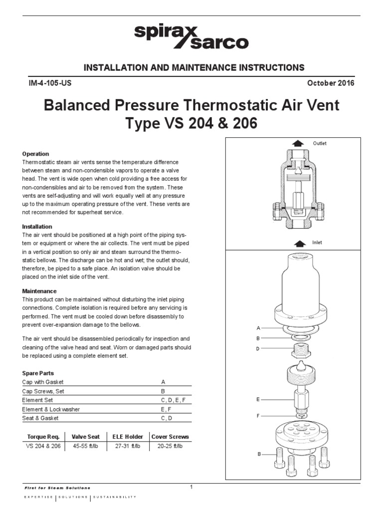 balanced pressure thermostatic air vent installation and maintenance rh scribd com Combination Drain and Vent Diagram Plumbing Venting Diagrams