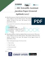 Live Leak - SSC Scientific Assistant Model Question Paper (General Aptitude) 2017