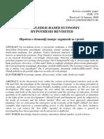 Ekonomija Znanja Hipoteze Za i Protiv